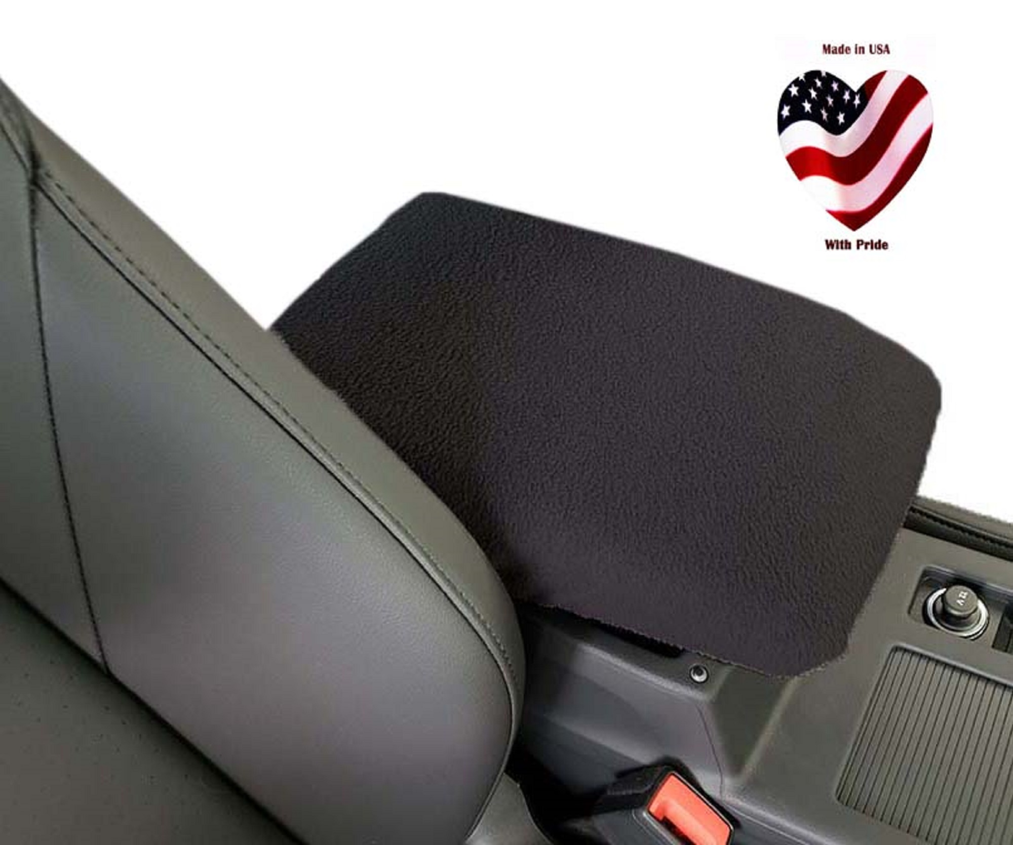 Car Console Covers Plus Fits Chevy Tahoe SUV 2016-2019 Fleece Armrest Cover for Fixed Double Cup Holder Center Console Lid Made in USA